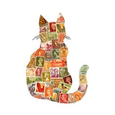 Autumn Cat Postage Stamp Collage ($42) ❤ liked on Polyvore