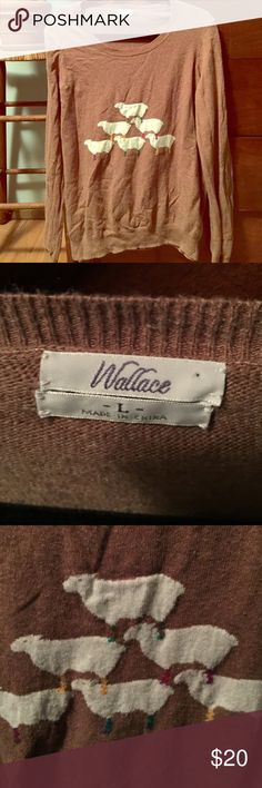 Madewell Wallace lamb sweater Adorable pullover wool sweater in a camel color with embroidered lambs on the front. Material tag is cut out, but it's a wool sweater. Mild wear. Madewell Sweaters Crew & Scoop Necks