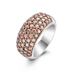 Ti Sento Ti Sento Silver and Rose Plated Domed CZ Ring - Large Image