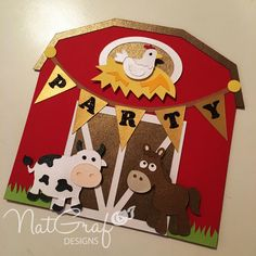 Barn Card SVG, farm svg, farm birthday, cow svg de NatGrafDesigns en Etsy