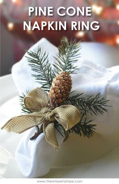 Easy Christmas Decor - Pine Cone Napkin Rings Remember doing these when I was younger. Easy Christmas Decor - Pine Cone Napkin Rings Remember doing these when I was younger. Diy Christmas Napkins, Christmas Tree Napkin Fold, Handmade Christmas Decorations, Noel Christmas, Simple Christmas, Christmas Ornament, Christmas Table Settings, Christmas Tablescapes, Diy Natal