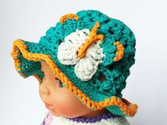 Summer hat crocheted airy stable washable by Kreativhaekelshop