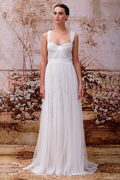 MARCELLA - SILK WHITE TULLE CAP SLEEVE GOWN WITH EMBELLISHED OVERLAY #MoniqueLhuillier