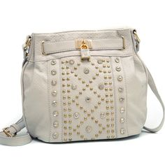 Rhinestone & Stud Messenger Cross Body Handbag w/ Lock - Cream $49.99 + Free Shipping! wantedwardrobe.com wantedwardrobe.net #fashion #handbags