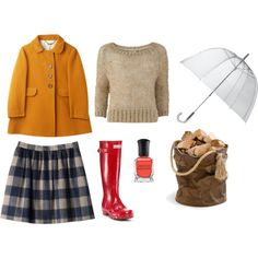 i want ALL OF THIS OUTFIT. mustard coat - Anise mod (lenghten), wool plaid Zinnia (shorten), neutral wool sweater, rain boots, leather tote. yessss (via. Coletterie)