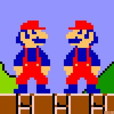 """""""13py2:  Mario and Luigi All Colors by Brother Brain. The original Super Mario Bros. rapidly cycle through their early color schemes. Click and drag to pause.Donkey Kong (Arcade) Nintendo 1981.Mario Bros. (Arcade) Nintendo 1983.Super Mario Bros. (NES) Nintendo 1985. Super Mario Bros. 2 (NES) Nintendo 1988. Super Mario Bros. 3 (NES) Nintendo 1990. Super Mario World (SNES) Nintendo 1991. Super Mario 64/64 DS (N64/NDS) Nintendo 1996/2004.  """""""