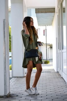 We love this look of Khaki Green Dress and sneakers. Simple and Stylish