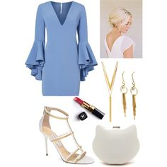 blue x white x gold by ammzi on Polyvore featuring polyvore, fashion, style, Milly, Jimmy Choo, BERRICLE, Chanel and clothing