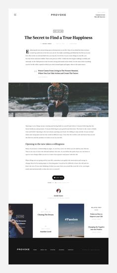 Minimal blog article with full width image. Website design / UI