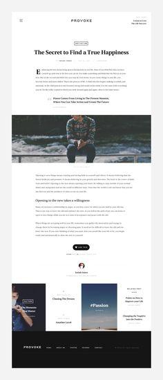 Minimal blog article with full width image. Website design / UI