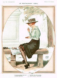 """La Vie Parisienne Page - """"LE RESTAURANT IDEAL"""" - Lithograph - 1918"""