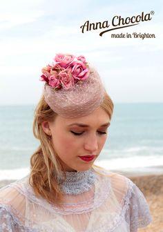 1940s 50s burlesque PILLBOX HAT Taupe mauve pink ROSES Anna Chocola Brighton