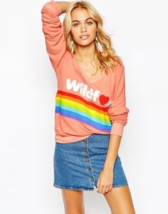Wildfox Baggy Beach Sweatshirt With Rainbow Logo Print