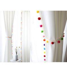 Pom Pom Blackout Curtains Kids Blackout Curtains White Blackout Curtains Kids Curtains Bedroom Curtains Tassels My Colorful Kids Blackout Curtains, Kids Curtains, Cool Curtains, Curtains With Rings, White Curtains, Kitchen Curtains, Curtains With Tassels, Bathroom Curtains, Blue Drapes