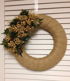 "12"" Christmas Wreath, Gold Toned Burlap Wreath with Gold Berries and Greenery, Holiday Wreath, Modern Wreath by ContemporaryCrafting on Etsy https://www.etsy.com/listing/197149905/12-christmas-wreath-gold-toned-burlap"