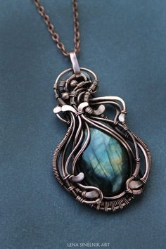 Labradoriter necklace Gift for her Wire wrap by LenaSinelnikArt