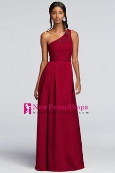 Wedding Apparel a line One Shoulder Sleeveless Floor Length Satin With Sash/Ribbon  US$ 119.99 NPSPET57QRE - NewPromShops.com