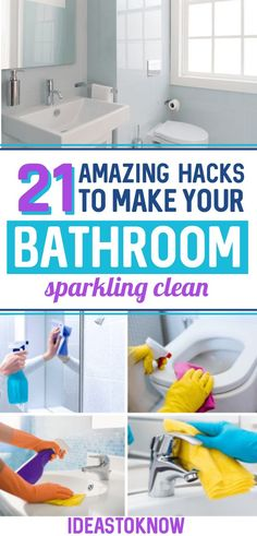 A clean bathroom is as important as a clean home. And these bathroom cleaning hacks will make cleaning a bathroom easy and fast. Check out these bathroom cleaning tips to clean, disinfect and deodorize your bathroom. Bathroom Cleaning Hacks, Household Cleaning Tips, Deep Cleaning Tips, House Cleaning Tips, Diy Cleaning Products, Bathroom Cleaning Tips, Bad Hacks, Hacks Diy, Life Hacks