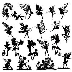 Detailed  Fairy Die Cut Out Silhouette - 20 x fairies and a deer. Great for fairy jar, cardmaking, scrapbooking, party bag fillers