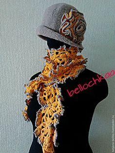 Купить Вязаная шляпа с ажурным шарфом - серый, однотонный, шляпка, шляпка женская, шляпа с полями