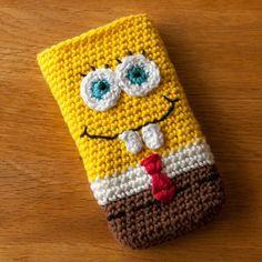 How lovely is this! Crochet Jar Covers, Crochet Phone Cover, Crochet Cozy, Free Crochet, Crochet Hats, Crochet Wallet, Crochet Purses, Spongebob, Mobiles