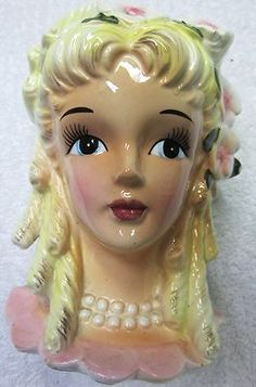 1 Beautiful Vintage Southern Bell Lady Headvase Collectible Enesco Planter