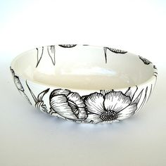 Ceramic Bowl Hand Painted Poppies Illustrated Black by sewZinski, $65.00