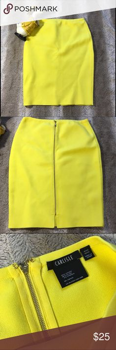 Carlisle skirt bright yellow skirt. Size XS Beautiful yellow skirt with beautiful gold zipper. 60% viscose 38% Nylon 2% spandex. Only wore once. No stains or rips. Carlisle  Skirts Midi