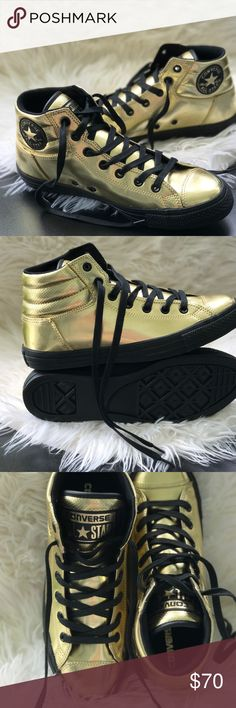 Converse Ctas Fresh HI Gold M. AUTHENTIC Upper: synthetic, lining: textile, outsole: rubber. Price is firm. No trades. Brand new with no lid box. Converse Shoes Sneakers