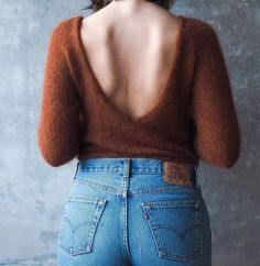 Freya knitting pattern and wool. Knitting kit - Mohair sweater with deep v neck in the back. Open back sweater. Knitted bottom up, raglan sleeves. Knitting pattern for free in kit. Jumper Knitting Pattern, Jumper Patterns, How To Purl Knit, Knit Purl, Mohair Sweater, Ethical Fashion, Clothing Patterns, Sweaters, Clothes