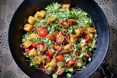 Polenta Croutons and Tomato Salad. Balsamic Vinaigrette Tomato Salad Recipes, Best Shakes, Sweet Cherries, Cereal Recipes, Serious Eats, Polenta, Vinaigrette, Cherry Tomatoes, Food Print