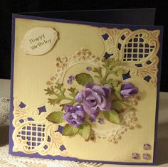 handmade roses, anja corners.   I don't have these corners, but as I don't make 6x6 cards, the smaller Anja corner I have would work.   I do have the Parisian die by Spellbinders.