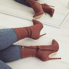 Brown Stiletto Heel Classic Ankle Booties image 1 - Rzeczy do noszenia - Heels Ankle Booties, Bootie Boots, Shoe Boots, Shoes Heels, Shoes Sneakers, Fly Boots, Bootie Heels, Sneaker Heels, Prom Shoes