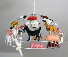 Hanging light-shade menagerie ~ HA! I want to make one for my studio!!!
