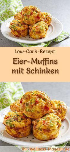 Low-Carb-Rezept für Low Carb Eiermuffins mit Schinken: Kohlenhydratarme Eierspeise - eiweißreich, kalorienreduziert, ohne Getreidemehl, gesund ... #lowcarb #frühstück