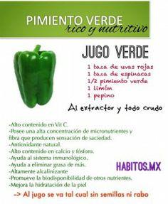 Jugo verde NUTRITIVO: uvas rojas, espinacas, pimiento verde, limón y pepino