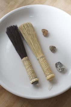 Our Mini Whisks - natural and dyed broomcorn