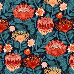 Pincushion Proteas Throw Pillow - Protea Chintz by tigatiga - African Flowers Red And Teal Square Throw Pillow by Spoonflower 4 Wallpaper, Butterfly Wallpaper, Modern Placemats, Red And Teal, Teal Yellow, South African Artists, African Flowers, Cat Fabric, Nature Tree