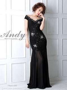 【Andy】ゴージャスなレースで女性らしさ溢れるキャバドレス♪ラグジュアリーに輝くビジューで高級感漂う♪優美になびくシフォン切り替え★スリットから魅せる美脚でSexyな1着です★■カラー┗ブラック■S…