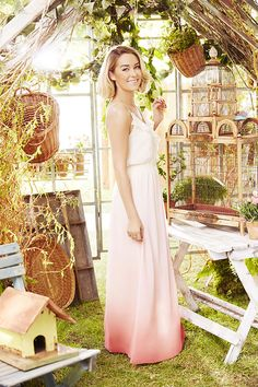 LC Lauren Conrad Ruffle Neckline Strappy Maxi Dress