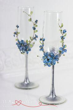 Mr & Mrs Wedding Glasses Spring Bride and Groom Flowers