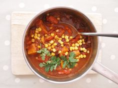 Vegetable mole: a simplified, vegetarian version of the traditional Mexican dish made with sweet potatoes, red peppers, kidney beans and sweetcorn.
