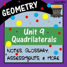 Take a load off! This unit on quadrilaterals is ready to go with all the important info you need for the discussion of this important geometric shape. You don't want to do all of this prep on your own! Get it now, and you won't be disappointed!This is a GROWING unit bundle that currently contains presentation notes, student follow-along notes handouts, glossary, glossary cards, 4 section quizzes, a study guide, and a unit test.
