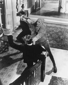 "Hammer Films' ""The Mummy"" (1959) starring Christopher Lee (Kharis the Mummy), Peter Cushing (John Banning) and Raymond Huntley (Joseph Whemple)"