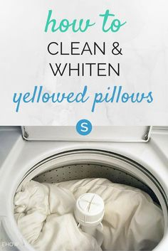 A guide to cleaning your yellowed pillows. http://simplemost.com/diy-how-to-clean-and-whiten-yellow-pillows?utm_campaign=social-account&utm_source=pinterest&utm_medium=organic&utm_content=pin-description