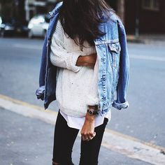 Denim jacket and sweater