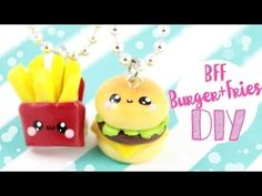 Melhores tutoriais DIY ^_^ Colar da amizade burger e frit leia a desc