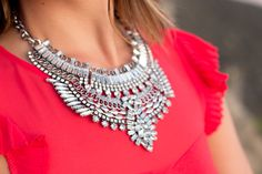 Statement Bohemian Necklace | Mirina Collections | Black and Red |Faux Leather Skirt | www.stylemissmolly.com