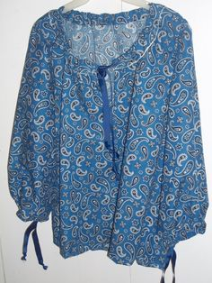 Boho peasant style tunic in ink blue paisley print