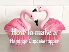 How to make Flamingo Cupcake Toppers tutorial Flamingo Party, Flamingo Cupcakes, Purple Cupcakes, Flamingo Birthday, Flower Cupcakes, Hawaiin Cupcakes, Rose Cupcake, Fondant Cupcake Toppers, Cupcake Cakes